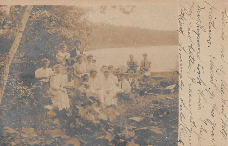 People Camping Picnic Scene Real Photo Antique Postcard J76894