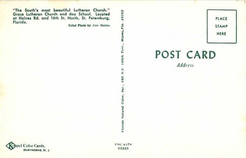 Grace Lutheran Church St Petersburg FL Florida Chrome / HipPostcard