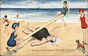 Bathing Beauty Woman See-Saw on Man's Fat Belly c1915 Postcard