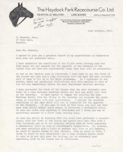 Haydock Park Racecourse 1970 Steeplechase Director Negotations Letter