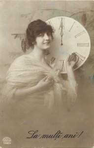 Romania la multi ani new year clock fancy lady glamour early postcard
