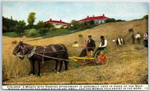 1909 INTERNATIONAL HARVESTER Ad Postcard FINLAND - Mower w/ Reaping Attachment