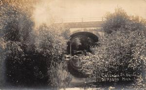 Michigan Mi Real Photo RPPC Postcard c1910 MASON Columbia Street Bridge Creek