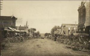 Elliott Iowa IA Main St. Horse Wagons Fine Photography Real Photo Postcard