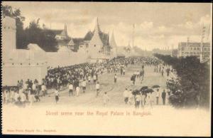 siam thailand, BANGKOK, Street Scene near Palace (1899)