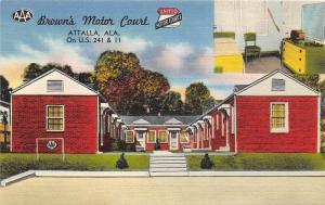 Alabama AL Postcard Linen Roadside ATTALIA Brown's Motor Court Interior