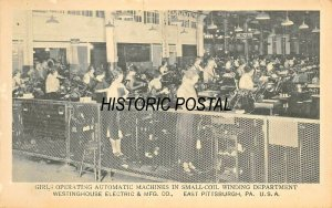 E PITTSBURGH~WESTINGHOUSE-MAIN WORKS-GIRLS SMALL COIL WINDING~PHOTO POSTCARD