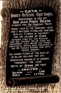 RPPC Sign at Ponce De Leon Springs Hotel Florida c1944 Vintage Postcard Q09