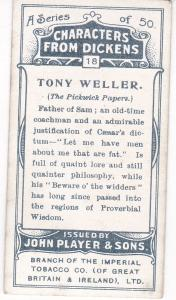 Cigarette Cards Players Characters From Dickens No 18 Tony Weller