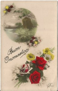 Beautiful Red Roses and White Daisy along with Lakes Scene Italy Buon Onomastico