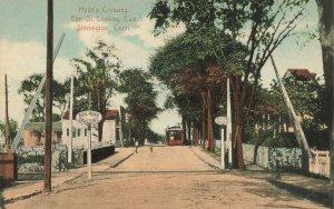 Stonington CT Hyde's Crossing Elm Street Railroad Crossing Postcard
