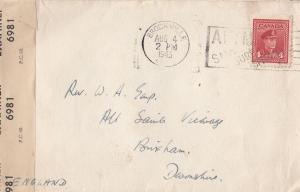 Brockville Canada WW2 1943 Examined By Censor War Stamp Envelope Cover