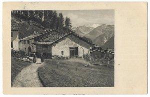 Romanshorn to Fribourg, Switzerland 1920 Postcard Swiss Chalet, Alps, Village