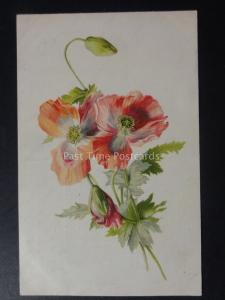 Poppies POPPIES Christmas Greeting SINCEREST WISHES - Old Postcard by Popular
