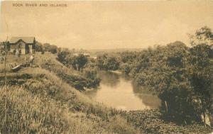 C-1908 Rock River and Islands Illinois Postcard 5078