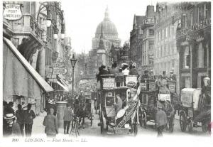 Vintage Reproduction London Postcard, Fleet Street c1905 21S