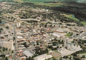 GUELPH, Ontario,1950-60s; Aerial View Of The Central Downtown Guelph