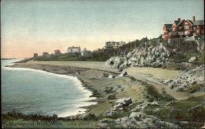Marblehead Neck MA Long Beach & Homes c1910 Postcard