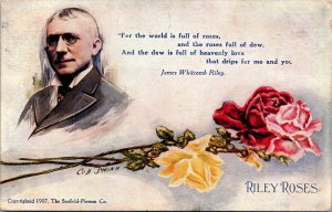 VINTAGE POSTCARD, ADVERTISING RILEY ROSES ARTIST SHINN NEIGHBORLY POEMS 1908