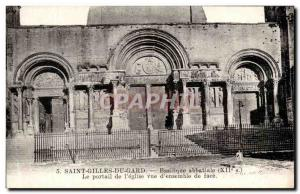Old Postcard Saint Gilles Du Gard The Basilica Abbey Church Portal Overview o...