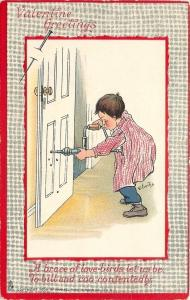 E Curtis~Valentine~Boy Drills Holes in Door~Antique Tool~Red~TUCK Love's Labor
