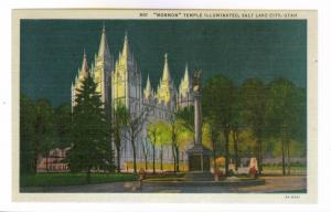 Mormon Temple Illuminated, Salt Lake City, Utah unused Curteich linen Postcard