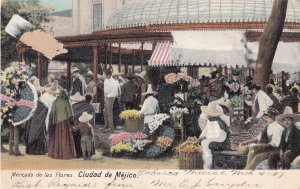 Mexico Flower Markets Antique Postcard