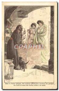Old Postcard In ancient Rome of freed slaves sell perfumes