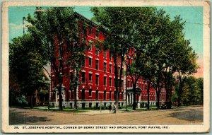 Fort Wayne, Indiana Postcard ST. JOSEPH'S HOSPITAL Street View 1925 Cancel