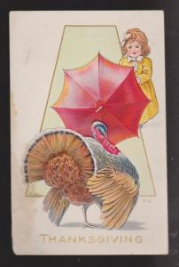 Thanksgiving Greetings - Turkey & Girl - Used - Embossed Stained