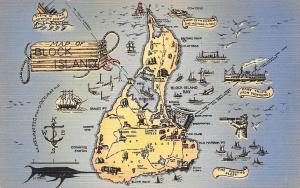 Block Island Rhode Island Map Postcard~Nautical Compass~Old Sea Salt~1940s Linen