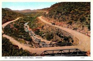 Arizona Apache Trail Hairpin Turn Curteich