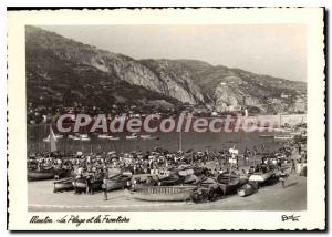 Postcard Moderne Menton The Beach and Frotiere