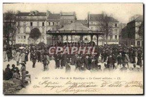 Old Postcard Caen Place de la Republique Le Concert Military Army