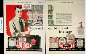1926 Du Pont Paint Finish Varnish Enamels Vintage Print Ad 4512
