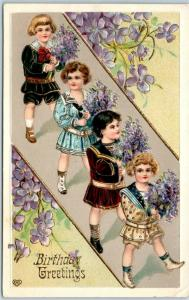 Vintage BIRTHDAY Greetings Embossed Postcard Children / Purple Flowers 1910