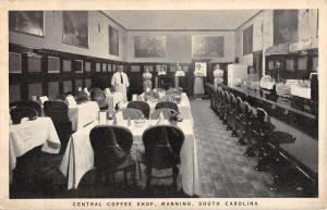 Manning South Carolina Central Coffee Shop Interior Antique Postcard K56429