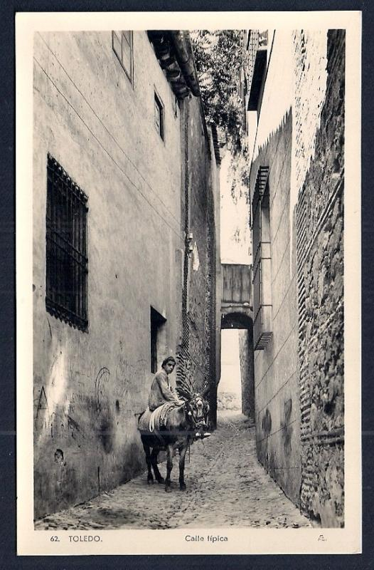 Typical Street Boy w/Mule Toledo Spain RPPC unused c1920's