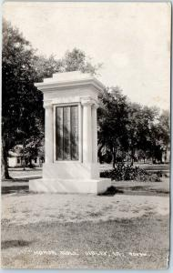 Sibley, Iowa RPPC Real Photo Postcard HONOR ROLL Military WWI Monument c1920s