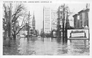 LOUISVILLE KY~1937 FLOOD SCENE-4th AND YORK-LOOKING NORTH~HEVERIN NEWS POSTCARD