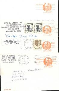 US Four Used Pre-stamped Postcards UX75 John Hancock, Patriot