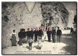 Old Postcard Customs Servizio went frontiera Ponte San Luigi and doganiere Ca...
