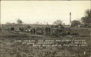 Bath MI Tragedy Mass Murderer Maniac Farm Implements MaCabre 1927 RPPC xst