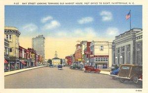 FAYETTEVILLE, NC Hay Street Scene Market House, Post Office ca 1940s Postcard