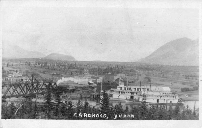 Carcross Yukon Canada Birds Eye View River Boats Real Photo Postcard J77006