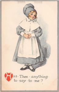 B32/ Valentine's Day Love Holiday Postcard c1910 Girl Bonnet Say? 2