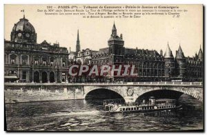 Old Postcard From Paris Trade Court Courthouse and Concierge Peniche boat