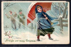 Christmas Girl With Umbrella BIN