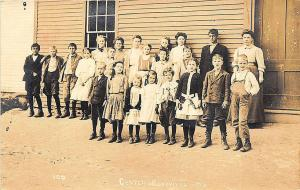 Center Montville ME Teachers Students in 1910 RPPC Postcard