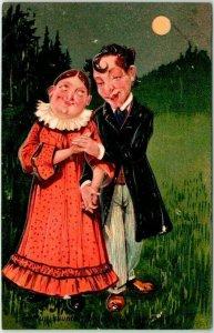 1910s PFB Embossed Postcard Let Us Saunter Through Life Together! #7608 Unused